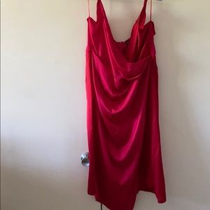 Red/Pink Color Block PLT wrap dress